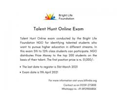 Talent Hunt Online Exam by Bright Life Foundation NGO