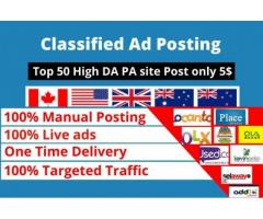 I will do publish your ad best rank classified ad posting sites